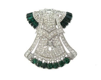 Antique Coro Emerald Art Deco Dress Clip, 1919 Book Piece, Fine Rhinestone Designer Jewelry, Antique Emerald Art Deco Jewelry