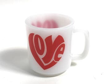 Groovy 1960s 1970s LOVE Milk Glass Coffee Mug // Bold Typography // Retro Kitschy Red White Heart