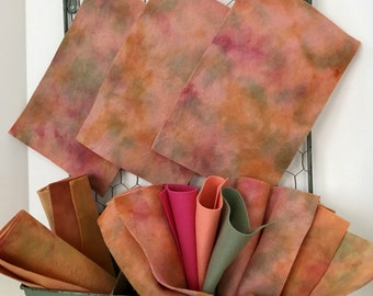 Hand Dyed Wool Felt, Melon Mix, Pure Merino, NonWoven Fabric