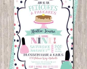 Pedicures Pancakes Invite - girl brunch birthday manicures pedicures breakfast pancakes, 5x7 printable JPEG PDF