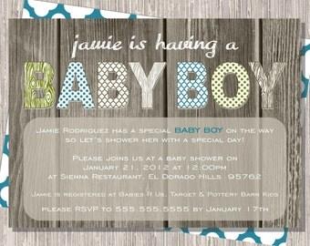 Baby Boy Shower Invitation, Rustic Green & Brown 5x7 printable