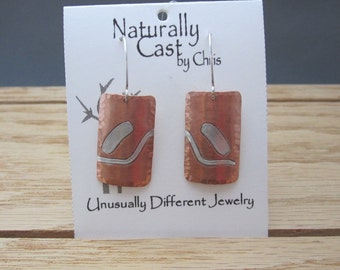 Copper with Sterling Inlay Earrings (SKU E16-71)