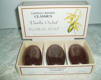 Caswell Massey Vintage Soap, Massey CLASSICS Vanilla Orchard Floral Vintage Soap, 3 Bars, Cakes Caswell Massey Soap, Sealed In Original Box