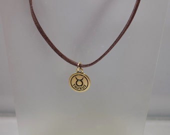 Astrological / Zodiac Sign Necklace - Astrology Pendant on Suede Cord - Taurus Shown - Most Star Signs Available