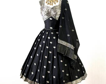 vintage 1950's dress ...gorgeous TINA LESER-esque black silk metallic ethnic india embroidered full skirt pin-up cocktail party dress & WRAP