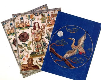 Vintage Embroidery Note Cards Set of 3 Lute Player 17th Century Tapestry and Exotic Bird Unused Vintage Paper Stationery Post Card