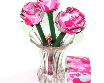 Pink Camo Duct Tape Rose Bud on Ballpoint Pen with Pink and Gray Camo Design Duct Tape and Green Duct Tape for Stem Color