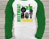 Birthday tractor shirt - personalized birthday boy tractor RAGLAN shirt - great for farm themed birthday party - MBD-009-R