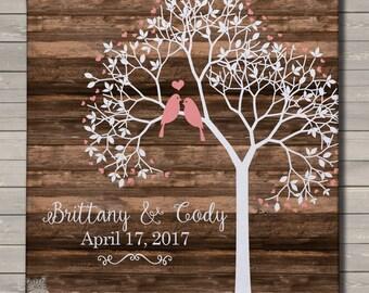 Wedding anniversary tree love birds rustic canvas print wall art - great engagement, wedding, or housewarming gift WWBTCP