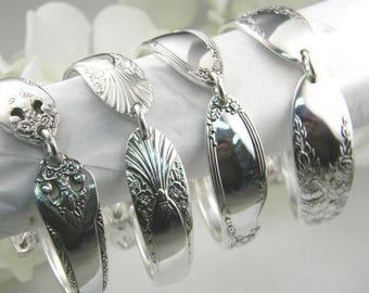Set Of 8 Personalized Bridesmaid Bracelets, Bridesmaids Bracelets Set Of 8, FREE ENGRAVING, Vintage Spoon Bracelets