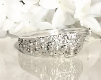 STERLING Silver Bracelet Cuff, Silver Cuff Bracelet, Sterling Silver, Spoon Jewelry, Sterling Silver Spoon Bracelet, Cuff - 1892 STIEFF ROSE
