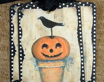 Whimsical Black Crow on Jack O Lantern Pumpkin Halloween Gift or Scrapbook Tags or Magnet #522