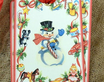 Retro Snowman Christmas Gift or Scrapbook Tags or Magnet #555