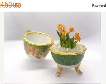 Minigarden Polymer Clay Flowers Lily in Ceramic Egg