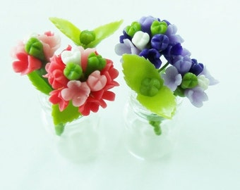 Miniature flowers, Sweet Hydrangea, Mini Bouquet in clear glass bottle 2 pieces