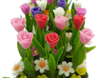 Tulip Minigarden Polymer Clay Flowers for Dollhouse, delicate and beautiful, set of 6 pieces