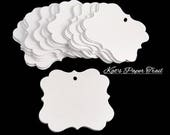 DIY Wedding Favor Tags / Die Cut Blank Tags / Fancy Paper Tags / Gift tags / Mason Jar Tags / Etsy Shop Tags Pick Color and Size