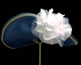 "Kentucky Derby Hat, Spring Fashion Easter Hat, Garden And Tea Party Hat In Azure Blue Is   - ""NOT for the SHY"""