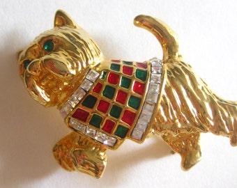 Christmas Scottish Terrier Scotty Scottie Dog Brooch Pin Rhinestone Enamel Gold Tone Green Eyes Vintage Free Shipping