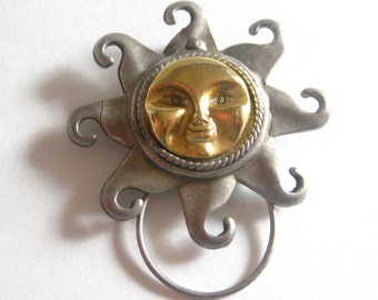 Cookie Lee Pewter Sun Brooch Pin Scarf Clip Vintage Signed Free Shipping