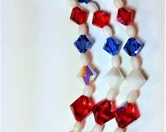 OJN-105 Vintage Red, White, and Blue Necklace