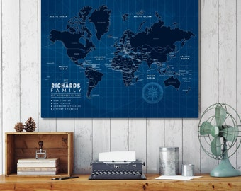 Blueprint art etsy gift for architect blueprint art blueprint world map travel map blueprint map malvernweather Image collections