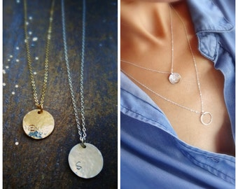 Personalized initial disc necklace, layering necklace, hammered minimal letter charm necklace, layered, gold or sterling silver, otis b