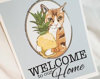 Orange Tabby Welcome Print - 8x10 Eco-friendly Size