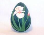 Easter Egg - Needle Felted - Extra Large - Iris on Blue Green Egg - Easter Decor - Easter Gift - Felt Easter - Spring Flower