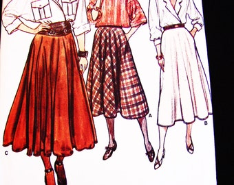 Womens Flared Skirt Pattern Misses size 14 16 18 Vogue Pattern 3 lengths Skirt Sewing Pattern Easy to Sew UNCUT