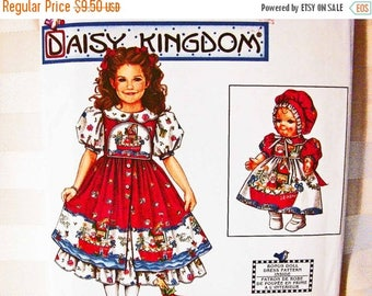 on SALE 25% OFF Daisy Kingdom Pattern size 3 4 5 6 UNCUT Party Dress for girls with 13 inch Doll Dress Pattern Simplicity Sewing Pattern