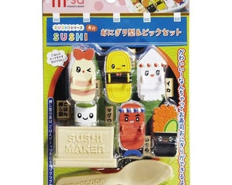 203616 cute colorful sushi maker spoon pick set