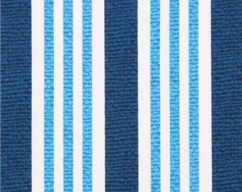 202573 blue white stripe fabric Michael Miller