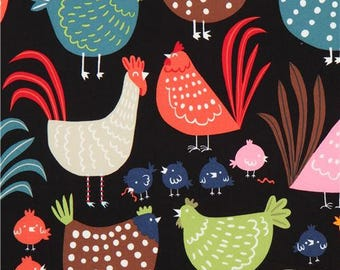 214335 black Alexander Henry fabric colorful chicken rooster chick Cluck Cluck