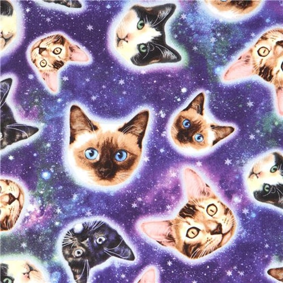 213944 colorful galaxy with cat face fabric timeless for Timeless treasures galaxy fabric