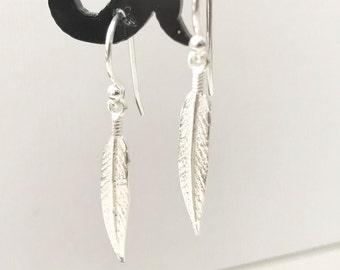 Leaf earrings, silver earrings, slim modern leaf, sterling silver earrings, dagger, handmade earring, modern jewelry