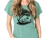 CLEARANCE SALE Bicycle shirt, Tree, Birds, Women's Graphic tee, Women's Boxy T-shirt, Dolman TriBlend, Gift for her