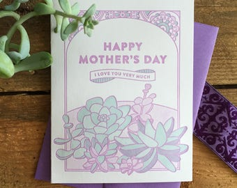 Mother's Day Succulents Letterpress Card