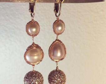 rose gold pearl  earring