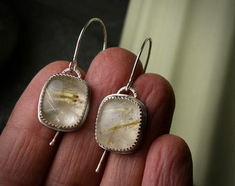 Rutilated quarts and sterling silver bezel set dangle drop earrings