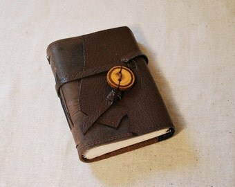 Rustic Leather Journal with Recycled Paper-Small