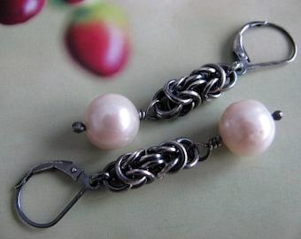 Large Pearl Earrings, Sterling Silver Dangle Earrings, Chainmaille Drop Earrings