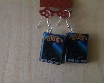 Mini Ender's Game Earrings - Book Jewelry- Handmade Book Earrings - Mini Book Jewelry -  Mini Book Earrings