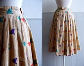 1950s Fan Novelty Print Cotton Full Skirt