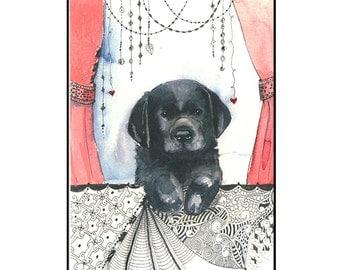 Cute Black Labrador Puppy Unique Handmade Greeting Card