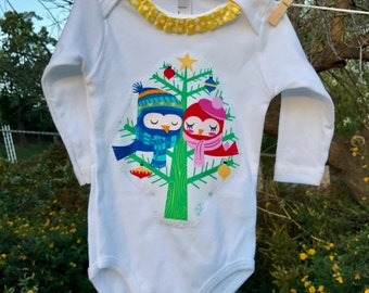 SALE! Christmas OWLS BABY Bodysuit Size 3 Months Ready-to-Ship