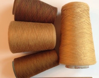 Lace fingering yarn, machine embroidery thread, 5 pounds brown gold yellow, 4 rayon synthetic cones, destash weave crochet knit i812