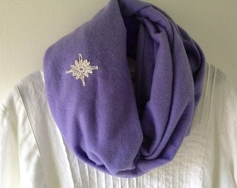 Fleece scarf for women with crochet star, long soft warm winter scarf in light purple lavender periwinkle i981 Life's an Expedition