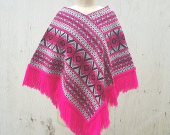 1960s Guatemalan Poncho // Vintage Textile // Neon Pink & Black