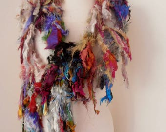Skinny Scarf Recycled silk chunky hand knitted boho tattered rag scarf multicolor
